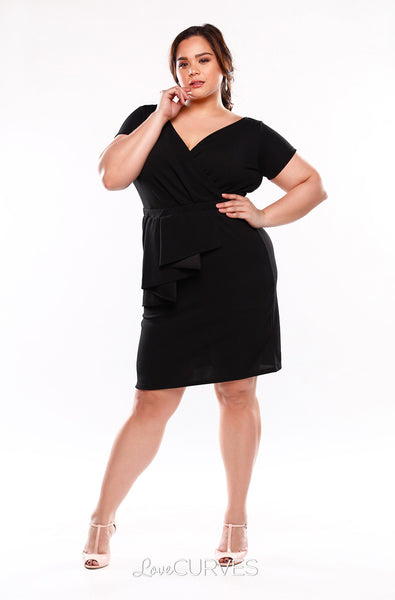 Cascade Wrap Dress - Black - KDR