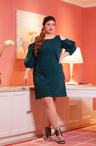 Cold Shoulder Bishop Sleeves Sheath Dress - Hunter Green - OLI