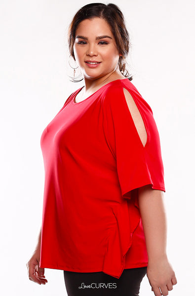 Cold Shoulder Caftan Top - Red - KDR