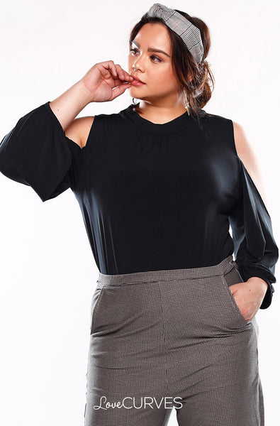 Cold Shoulder Turtleneck Top - Black - KDR