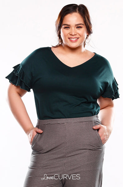 Layered Frill Sleeves Top - Dark Green - KDR