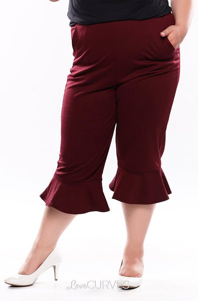 Frill Hem Cropped Pants with Side Pockets - Blood Stain - OLI