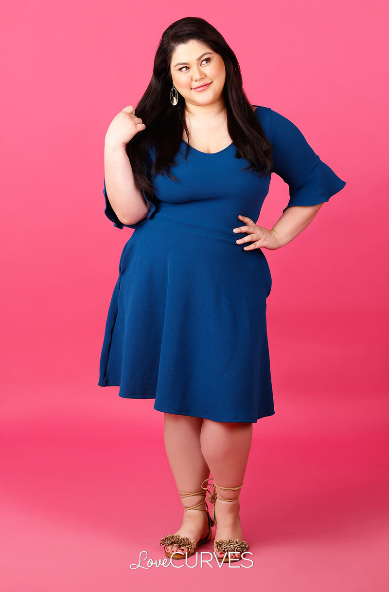 Frill Sleeves Fit and Flare Dress - Teal - ATT