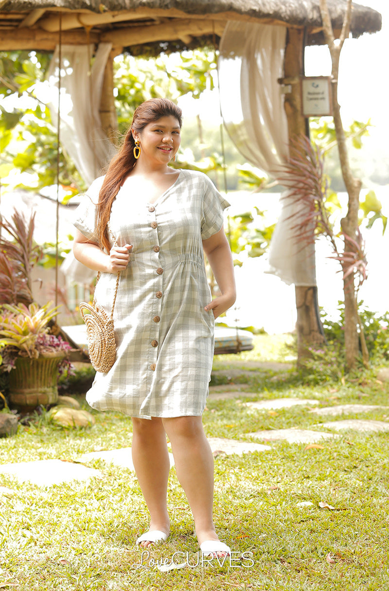 Button Down Elastic Waist Shirt Dress - Gray Checks