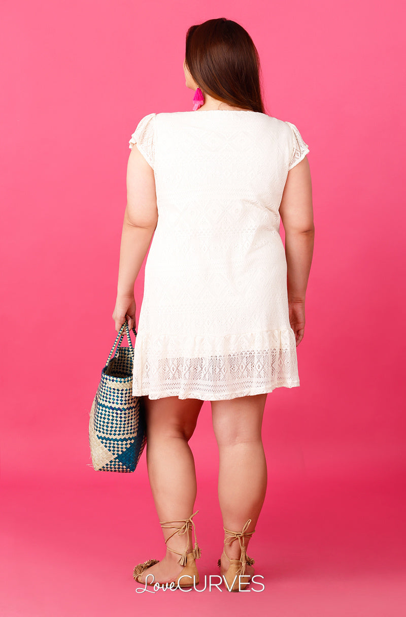Short Sleeves Drop Waist Ruffle Dress  - Cream Lace - ATT