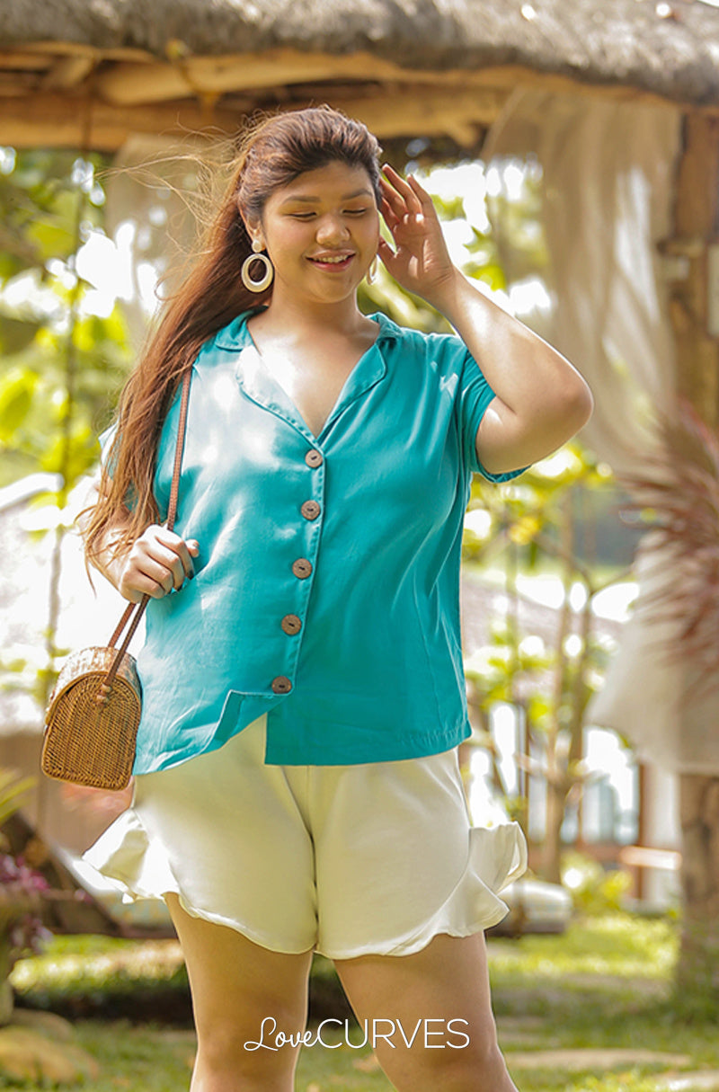 Boxy Notch Collar Button Down Top - Aqua