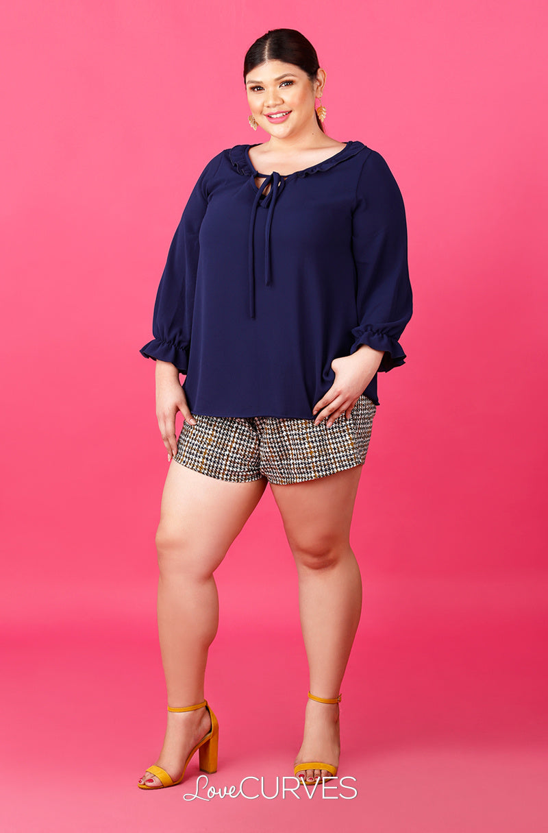 String Tie Ruffle Top - Dark Blue - ATT