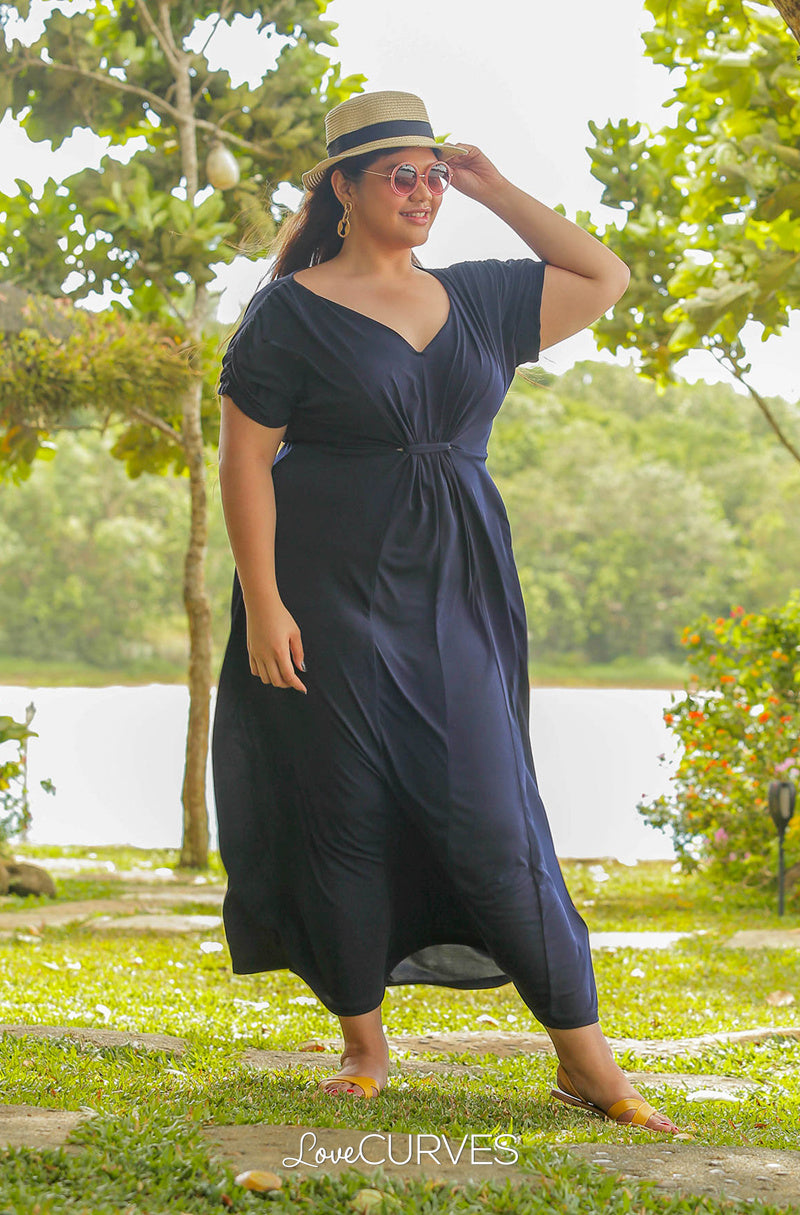 Front Knot Paneled Maxi Dress - Dark Blue