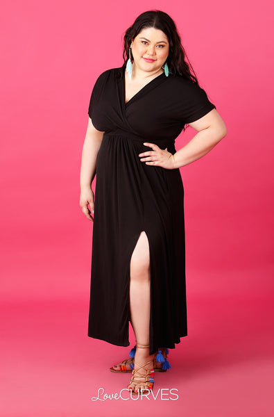 Wrap Maxi Dress with Slit - Circe Black - ATT