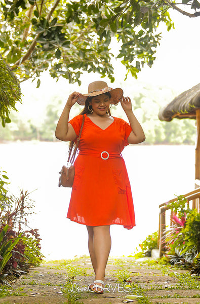 Yoke Dress with Patch Pockets and Belt- Bright Orange