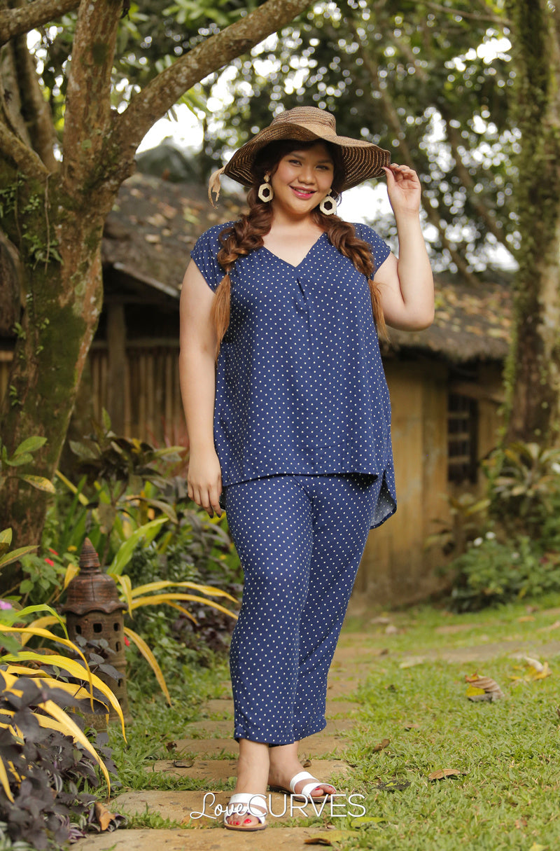 Extended Sleeves Pleat Top - Polka Blue