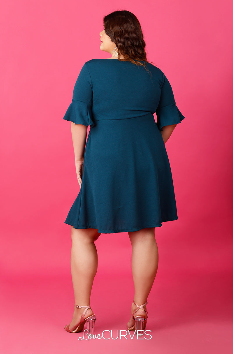 Frill Sleeves Fit and Flare Dress - Pine Green - ATT