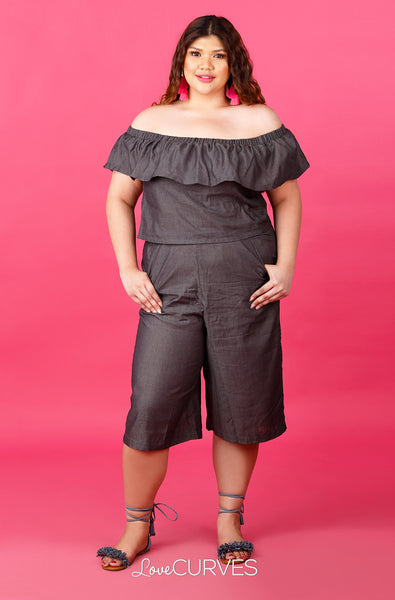 Off Shoulder Top and Culottes Co-ords - Dark Asphalt - ATT