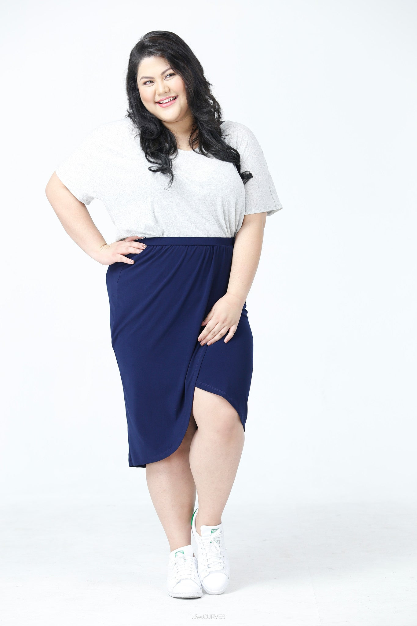 Wrap Pencil Skirt- Navy Blue - PSY