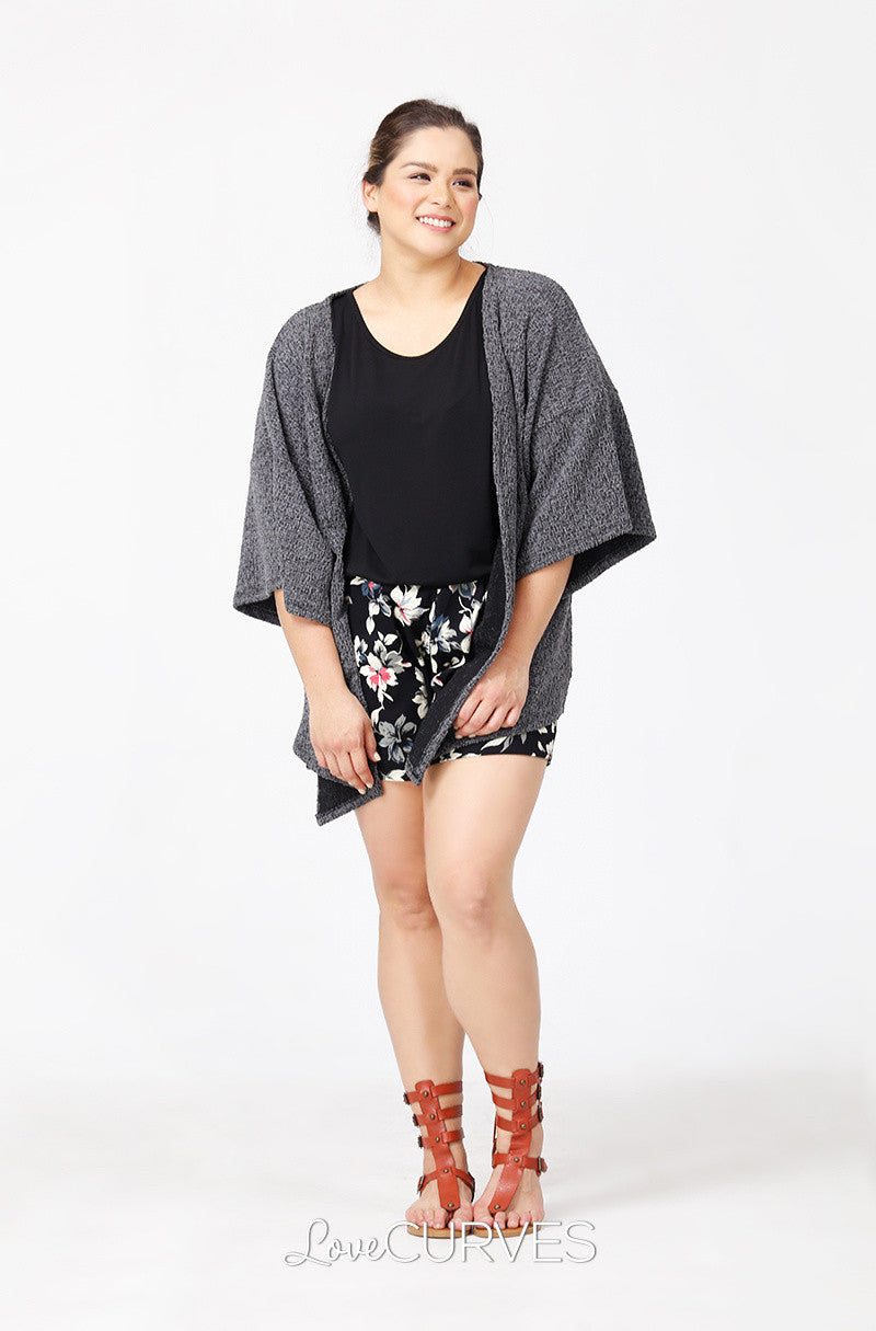 Kimono Sleeves Cover-Up - Embossed Gray - PSY
