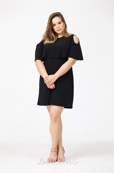 Capelet Cold Shoulder Dress - Black - PSY