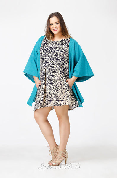 Kimono Sleeves Cover-Up - Aqua - PSY