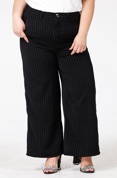 Wide Leg Pants with Welt Pockets - Black Pinstripes - PSY