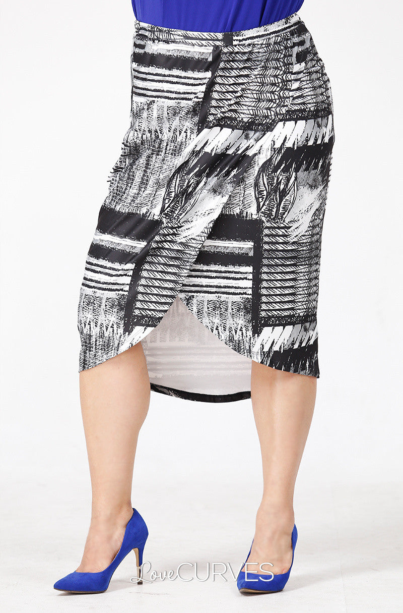 Wrap Pencil Skirt- Grayscale Patches - PSY