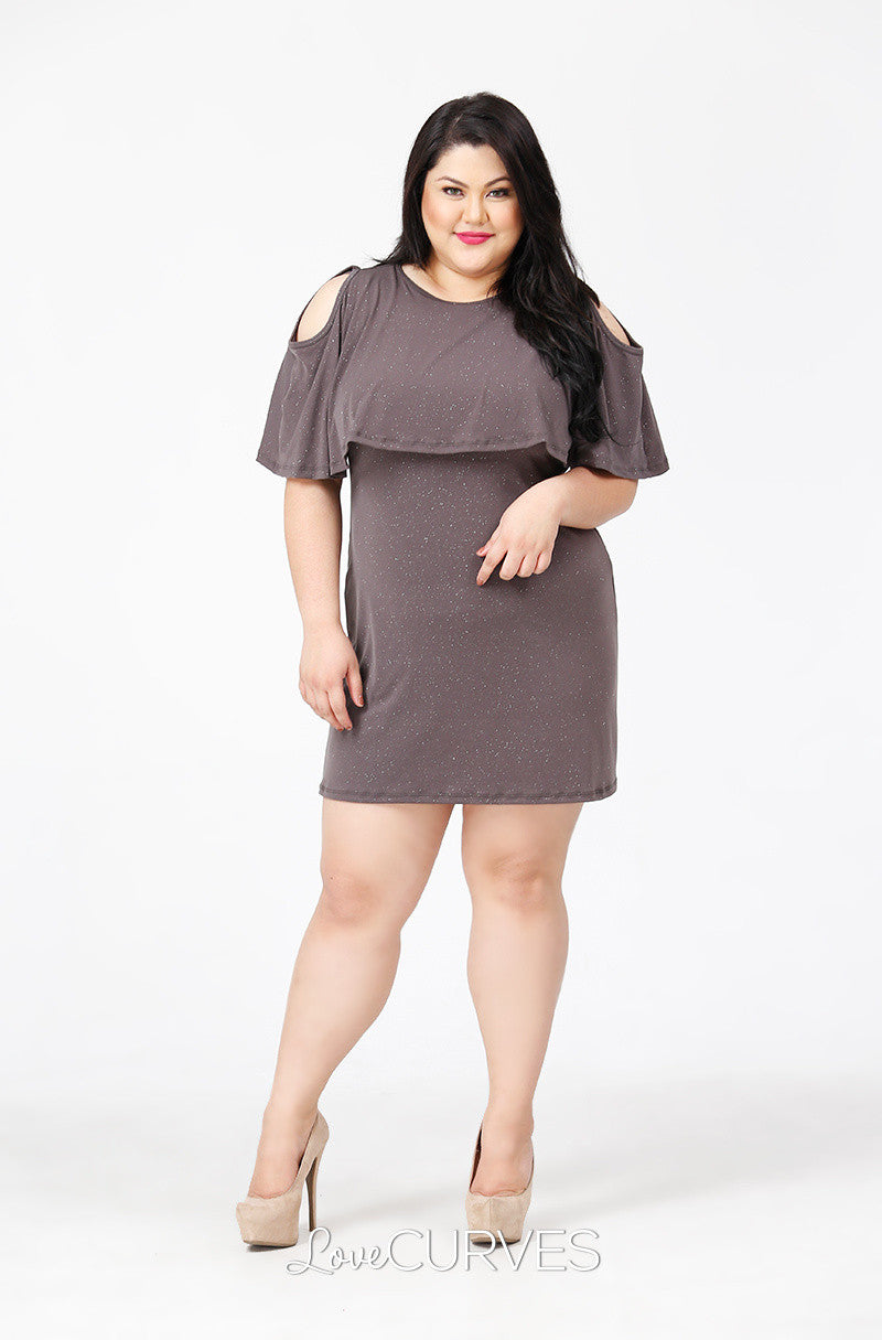Capelet Cold Shoulder Dress - Glittery Khaki - PSY