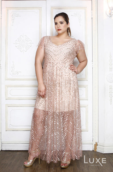 Deep V-Neck Glitter Gown - Rose Glitters- LUXE