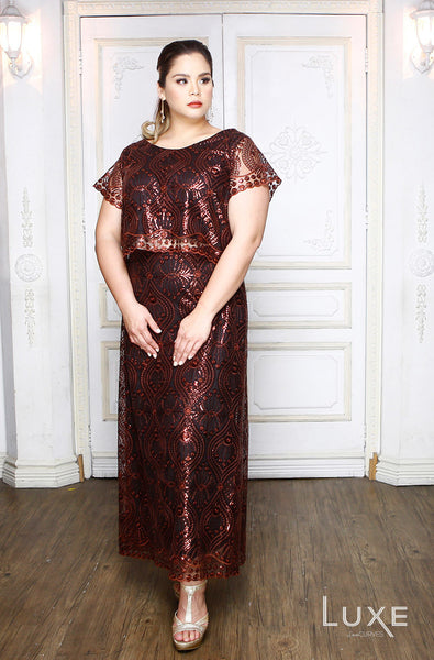 Cropped Top with Long Skirt Ensemble - Brown Sequin Deco - LUXE