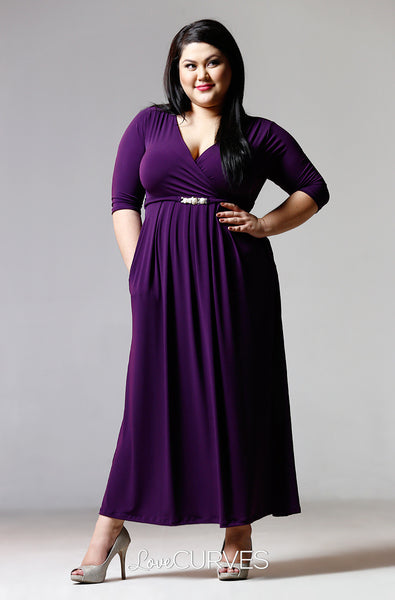 Pleated Wrap Maxi Dress with Charm Belt -Plum- PSY