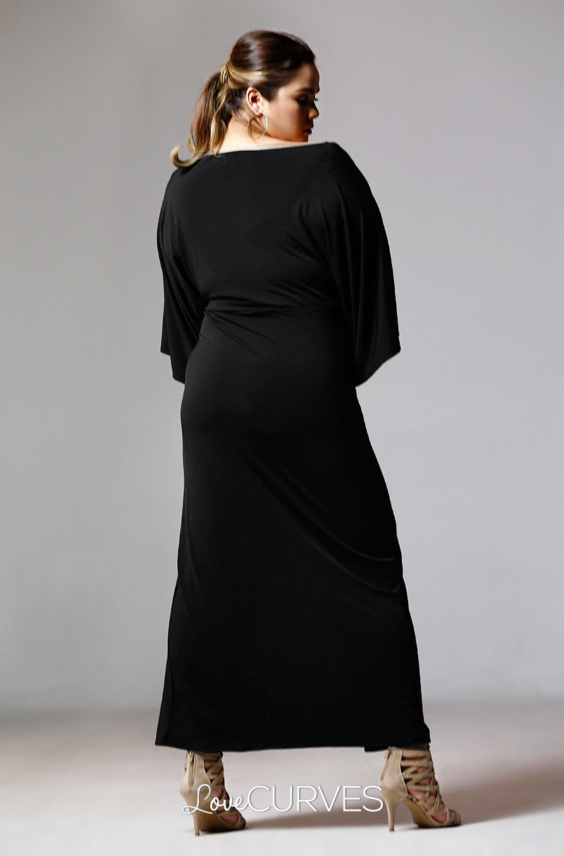 Twist Kimono Dress with Front Slit - Black - PSY
