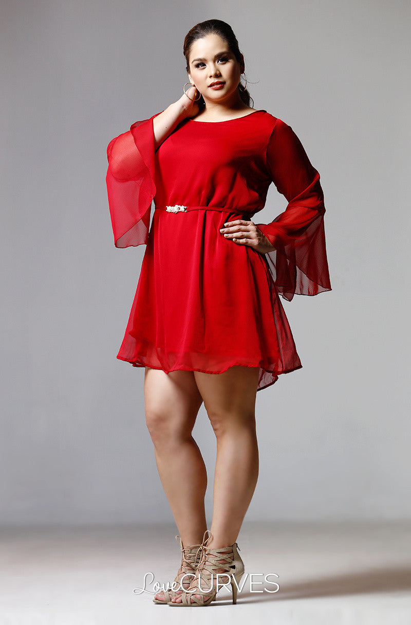 Flounce Sleeves Chiffon Short Dress-Carmine - PSY