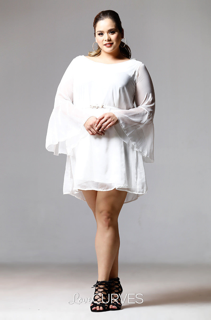 Flounce Sleeves Chiffon Short Dress-Cream - PSY