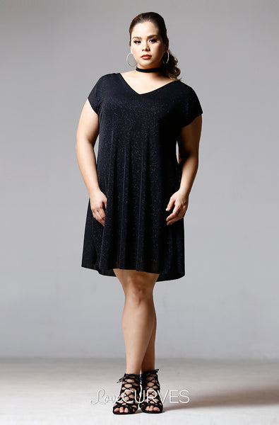 Extended Sleeves Choker Dress - Sparkly Black - PSY