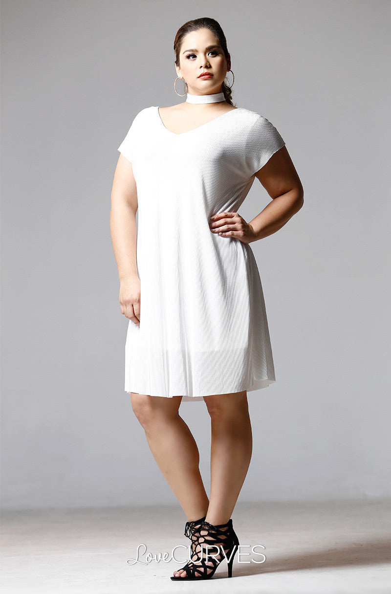 Extended Sleeves Choker Dress - Pearl White - PSY