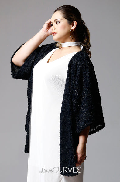 Kimono Sleeves Cover-Up - Black Fur - PSY