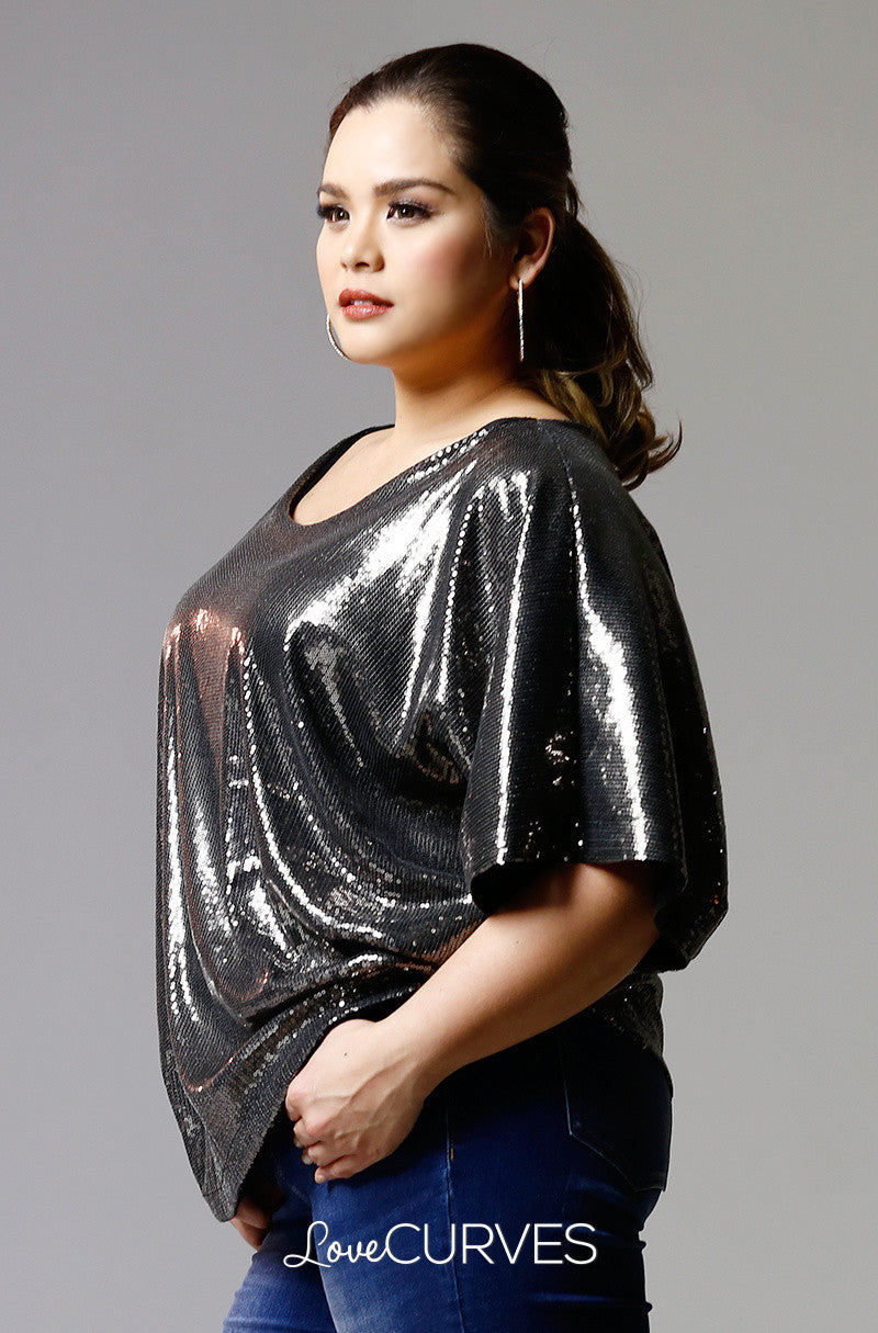 Sequined Dolman Top-Warm Gray Sequins- PSY