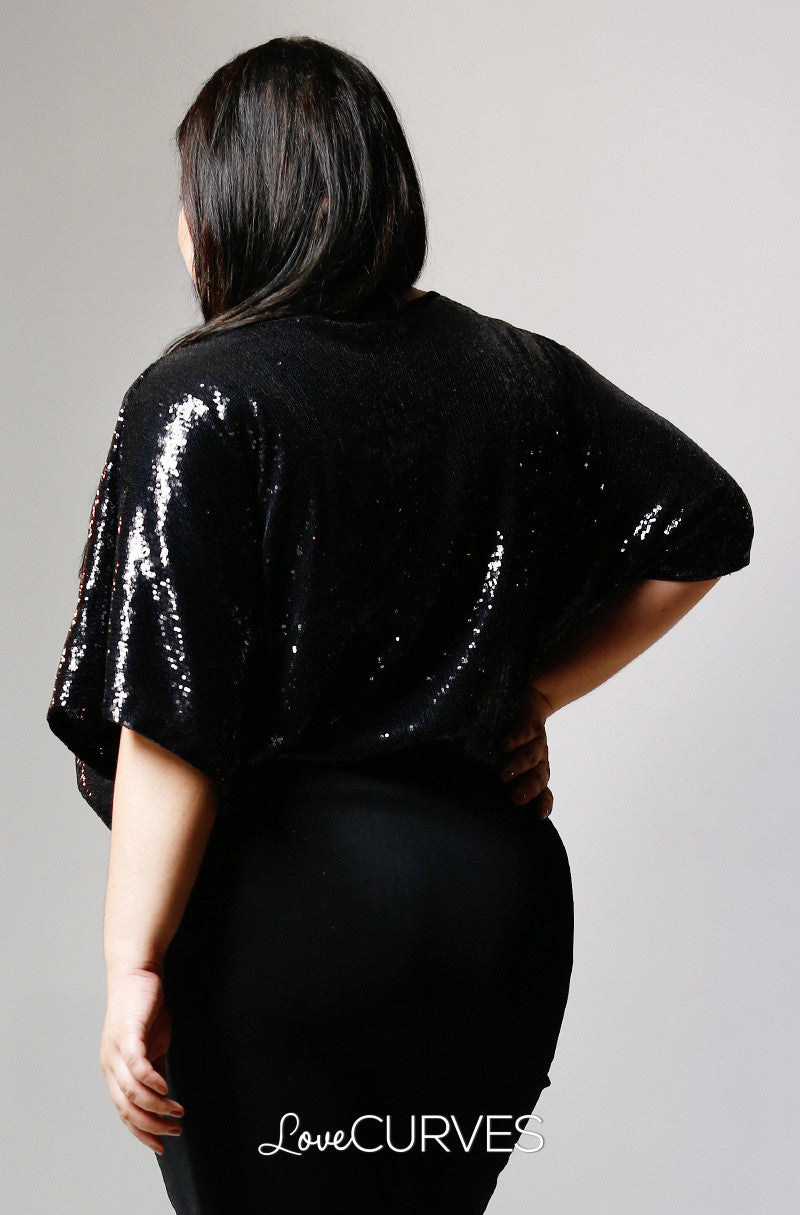 Sequined Dolman Top-Black Sequins- PSY