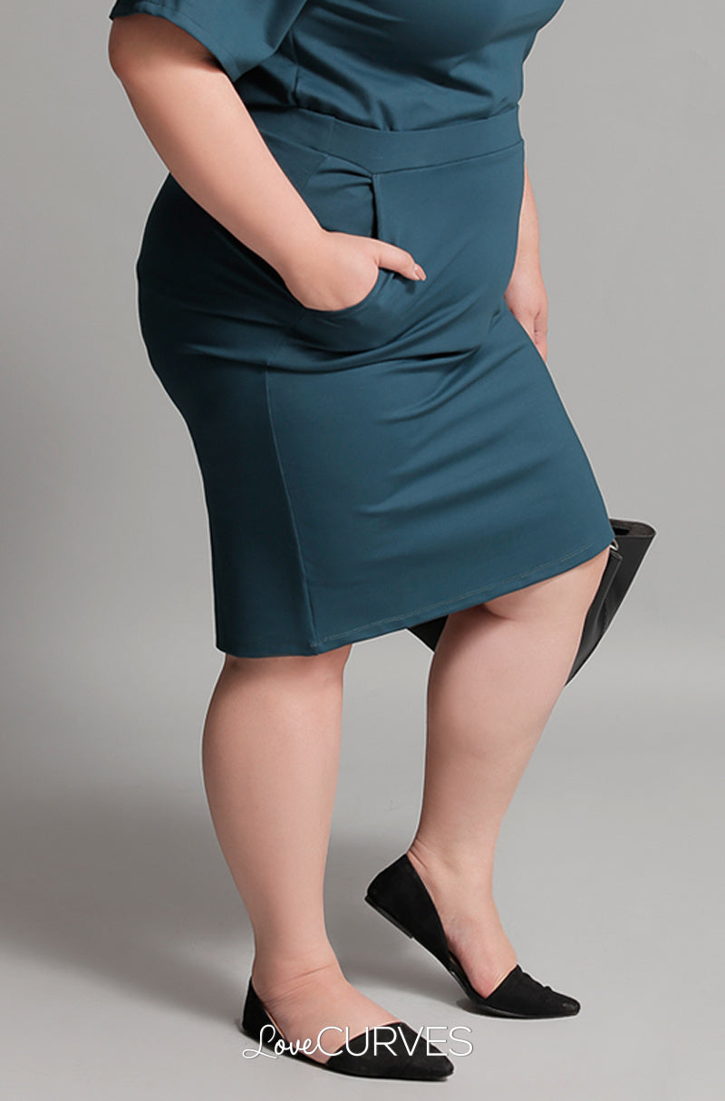 Basic Pencil Skirt with Pockets - Dark Teal