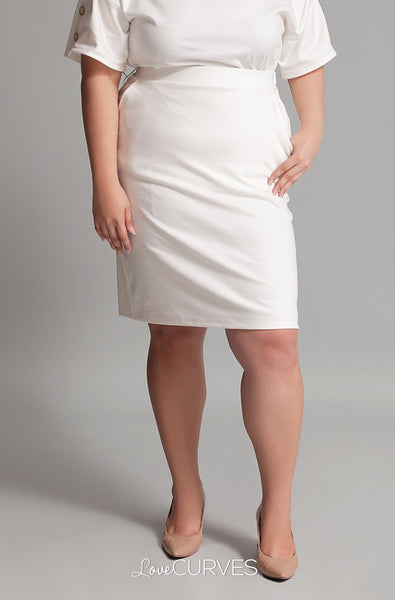 Basic Pencil Skirt with Pockets - Cream