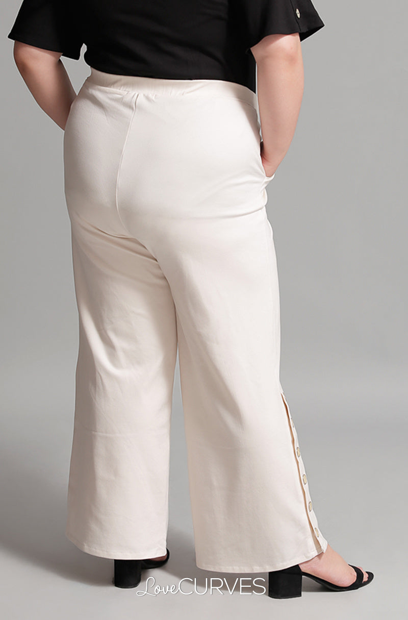 Buttoned Wide Leg Pants with Pockets - Cream