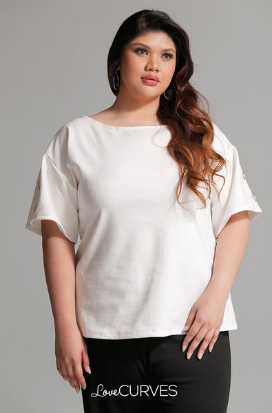 Buttoned Drop Shoulder Top - Cream