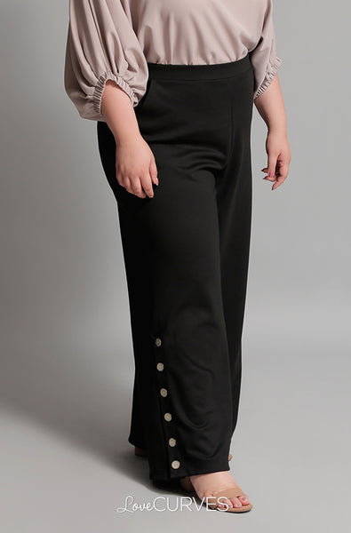Buttoned Wide Leg Pants with Pockets - Black