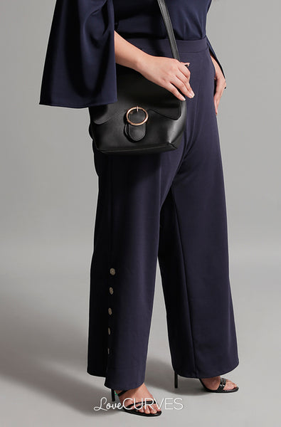 Buttoned Wide Leg Pants with Pockets - Midnight Blue