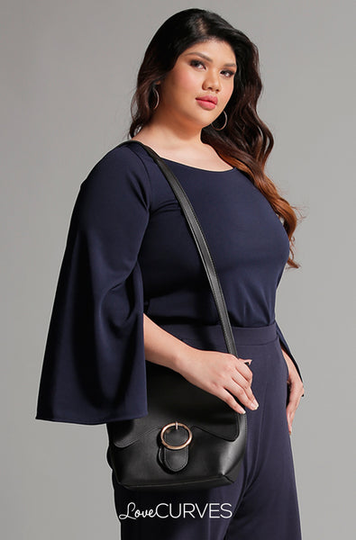 Slit Sleeves Cape Top - Navy Blue