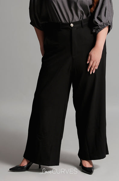 Wide Leg Pants with Welt Pockets - Black02 - PSY