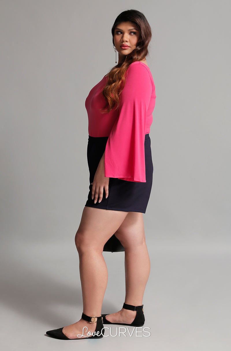 Slit Sleeves Cape Top - Flirty Fuchsia