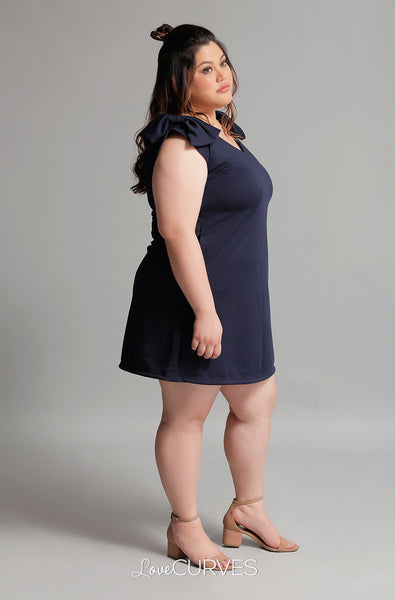 Shoulder Bow Shift Dress - Navy Blue