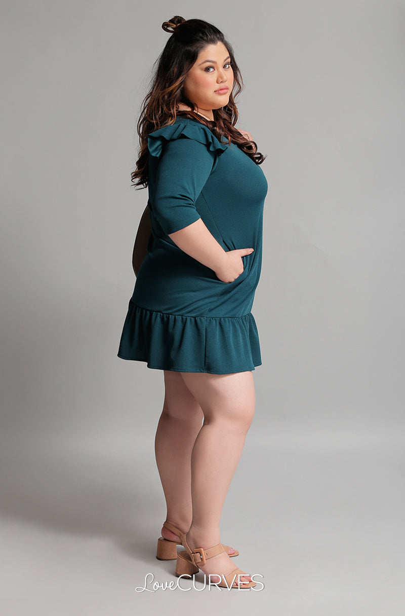Drop Waist Ruffle Dress - Pine Green