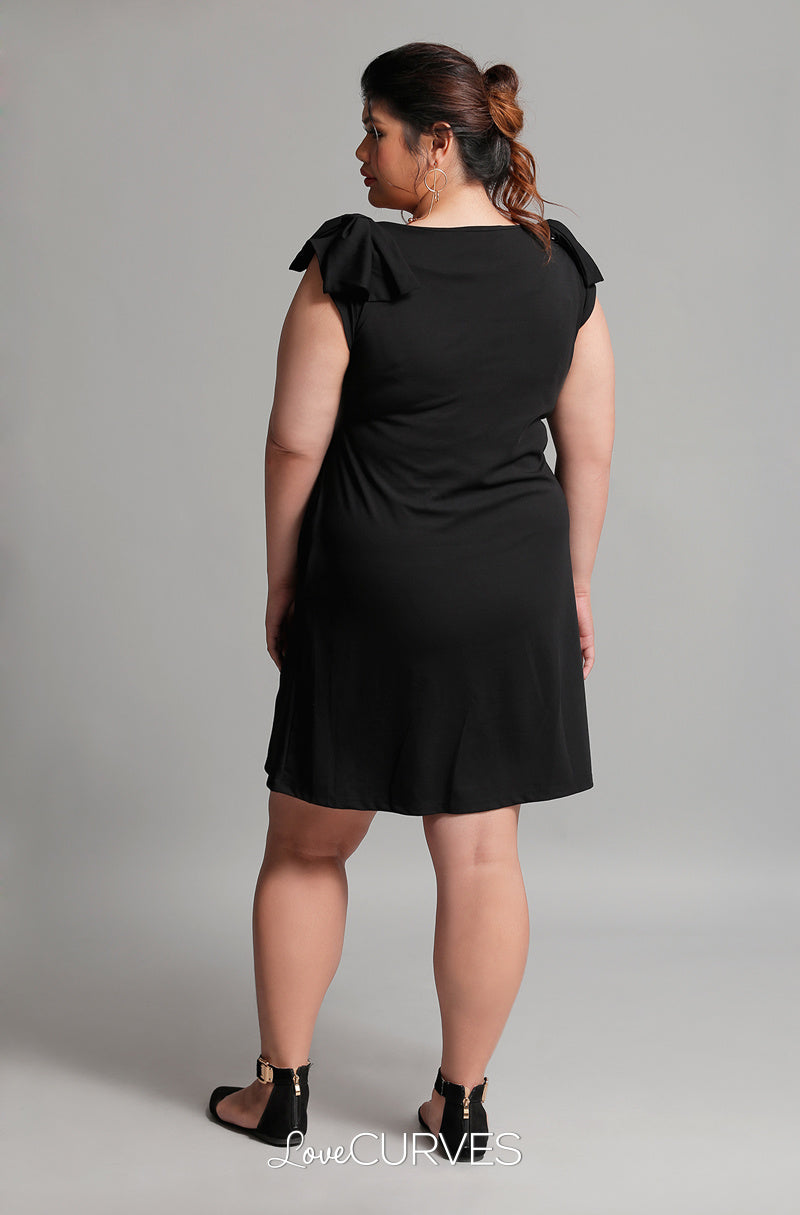 Shoulder Bow Shift Dress - Black