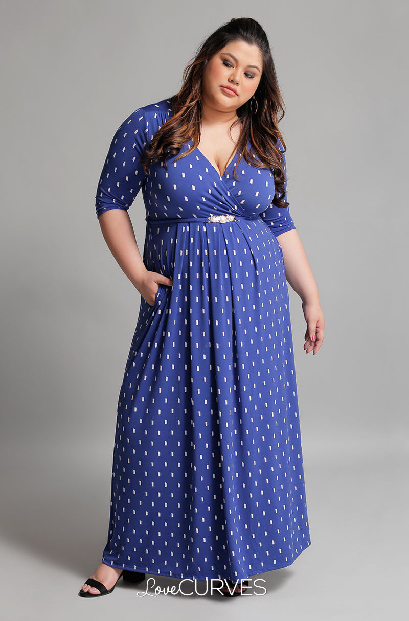 Pleated Wrap Maxi Dress with Charm Belt - Dotted Lines Blue