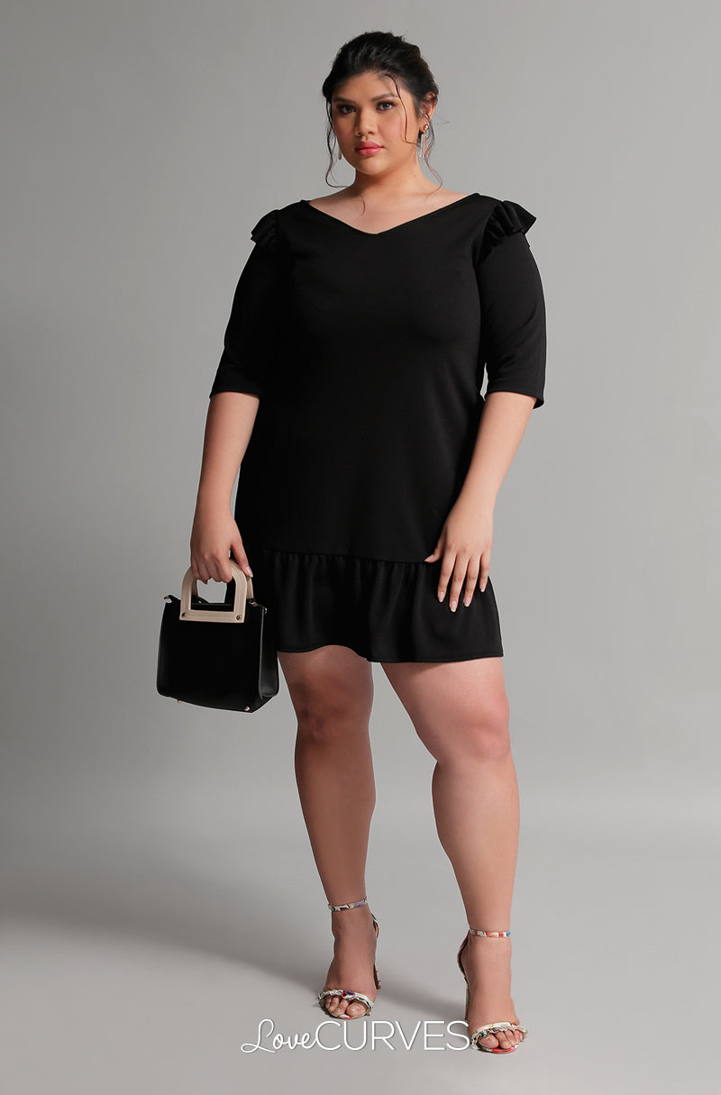 Drop Waist Ruffle Dress - Black