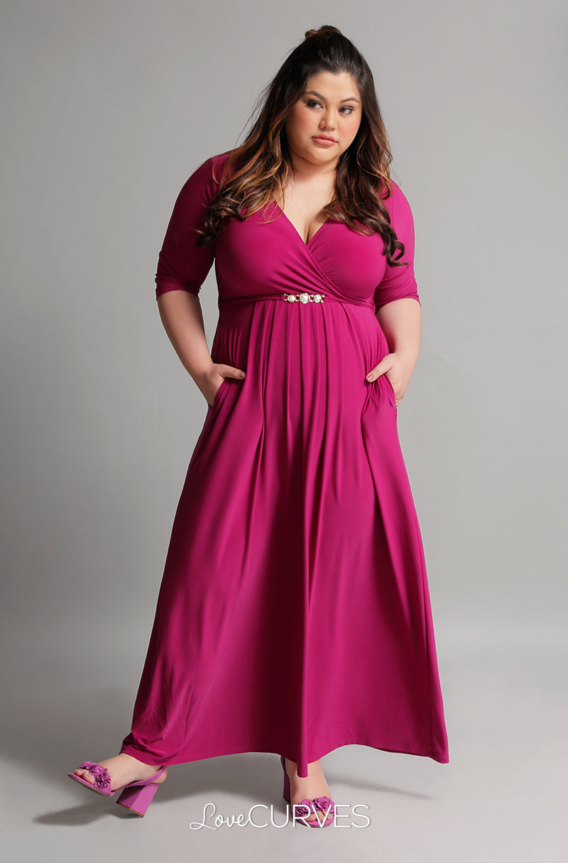 Pleated Wrap Maxi Dress with Charm Belt - Magenta